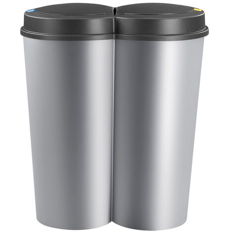 Recycling Bin 50L Double Dustbin Lid Dual Kitchen Dust Rubbish Bins Waste Compost Push Button 2 Compartments 2x25 Litre