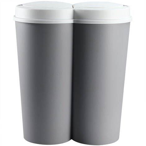 Recycling Bin 50L Double Dustbin Lid Dual Kitchen Dust Rubbish Bins Waste Compost Push Button 2 Compartments 2x25 Litres