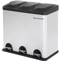 Recycling Bin with Lids for Kitchen 54 Litre Trash Can with Inner Bucket 3 Compartments & Stickers Included LTB54L