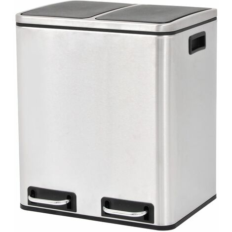 Recycling Pedal Bin Garbage Trash Bin Stainless Steel 2x15 L
