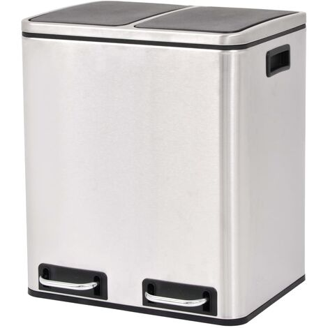 Recycling Pedal Bin Garbage Trash Bin Stainless Steel 2x15 L - Silver