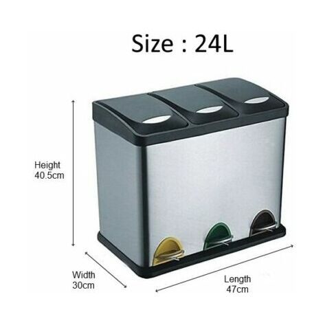 RecyQ Recycling Bin with Lids for Kitchen / 24 Litre Capacity / 3 Compartments Waste Separation/Colour Coded (24L (3x8L))