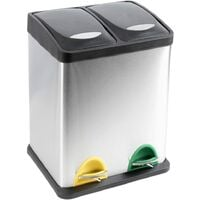 RecyQ Recycling Bin with Lids for Kitchen / 30 Litre Capacity / 2 Compartments Waste Separation (30L (15L+15L))