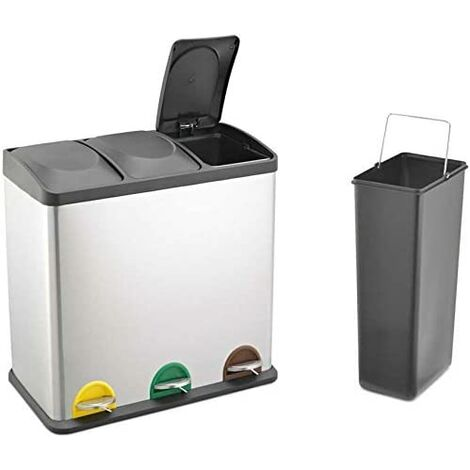 RecyQ Recycling Bin with Lids for Kitchen / 45 Litre Capacity / 3 Compartments Waste Separation/Colour Coded (45L (3x15L)
