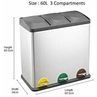 RecyQ Recycling Bin with Lids for Kitchen / 60 Litre Capacity / 3 Compartments Waste Separation/Colour Coded (60L (3x20L))