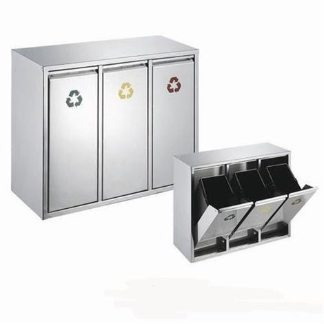 RecyQ Vertical Standing 24L Capacity Stainless Steel Recycling Bin Waste Separation System 3 Compartments (24L (3 x 8L) Standing)