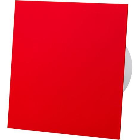 Red Acrylic Glass Front Panel 100mm Humidity Sensor Extractor Fan for Wall Ceiling Ventilation