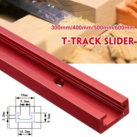 """main image of """"Red Aluminum Alloy 300mm T-Track Nut Slider DIY Woodworking Tool (B-Type 300mm T Track Slider)"""""""