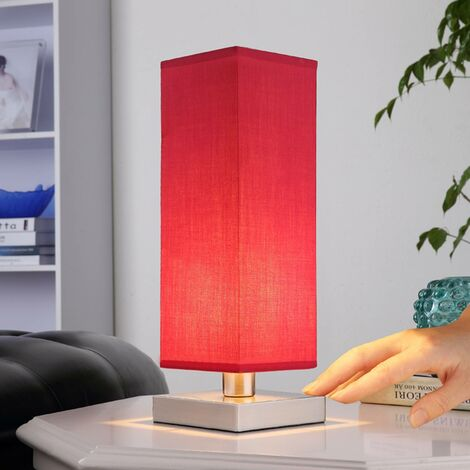 Red bedside table lamp Julina w. fabric lampshade