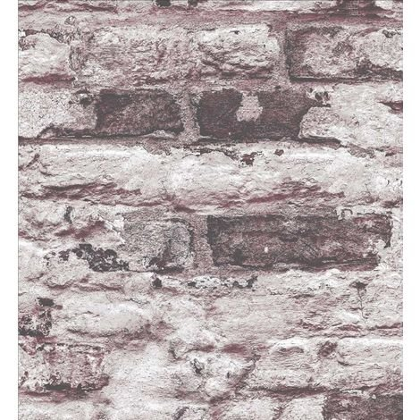Red Brick Wallpaper White Slate Stone Rustic Industrial Paste Wall Vinyl