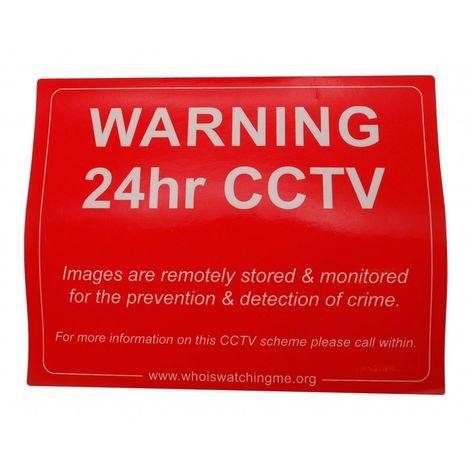 Red CCTV Warning Window Sticker [002-0570]