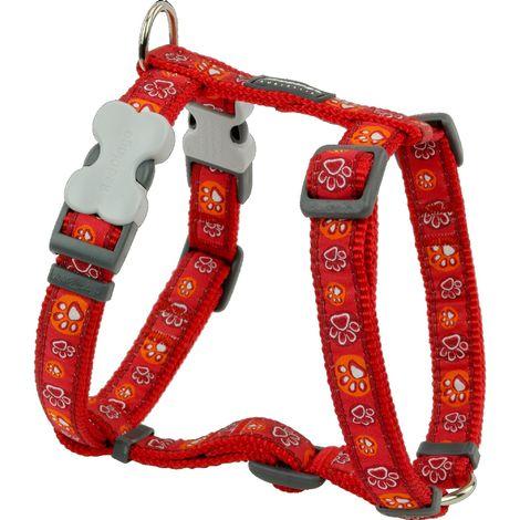 Red Dingo Adjustable Paw Prints Dog Harness