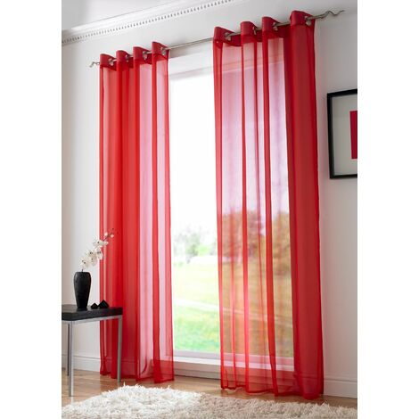"""Red Eyelet Ring Top Voile Curtain Panel 108"""" Drop"""
