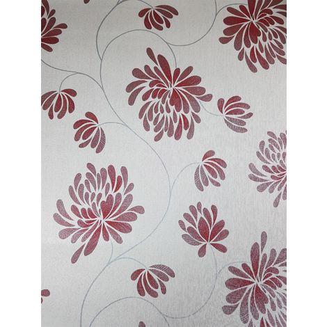 Red Floral Trail Glitter Wallpaper Foliage Silver Shimmer Washable Debona Selena