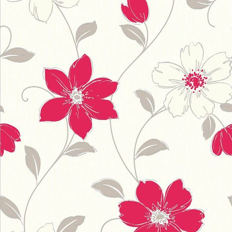 Red Floral Vinyl Wallpaper Flowers Textured Cream Grey Luxury Arthouse Anouska