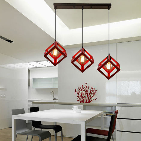 Red Industrial Chandelier Retro Cube Style Light Fixture 3 Lights Pendant Lights Creative Ceiling Light for Bar Kitchen Indoor Decoration