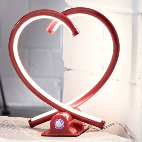Red LED table lamp Valentin with a heart shape