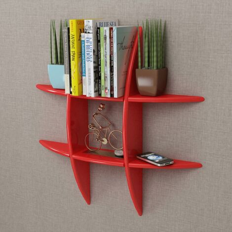 Red MDF Floating Wall Display Shelf Book/DVD Storage - Red