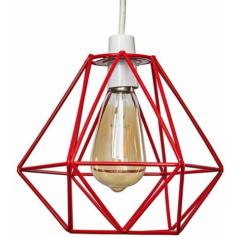 Red Metal Ceiling Pendant Light Shade - 4W LED Filament Bulb Warm White