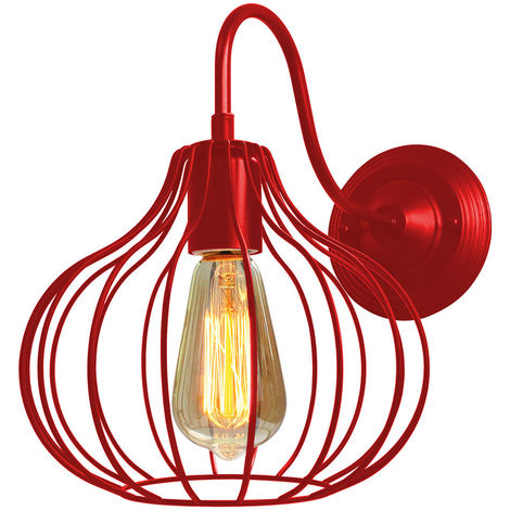 Red Round Cage Industrial Style Chandelier Lamp Metal Vintage Retro Pendant Light Shade Indoor Bar Club Ceiling Lampshade Lights Fixture E27 Bulb