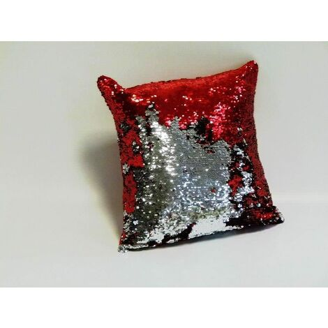 "Red & Silver Two-Colour Cushion Cover Reversible Sequins Scatter Cushion 17""x17"""