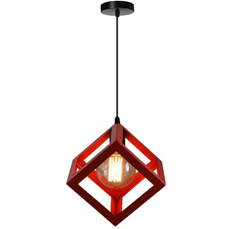 Red Square Metal Ceiling Lamp Unique Geometric Cube Pendant Light E27 Modern Suspension Lighting Restaurant Droplight for Loft Cafe Bar