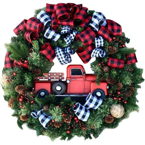 """main image of """"Red Truck Christmas Wreath Window Front Door Decoration Wall Hanging for Christmas Decoration Props"""""""