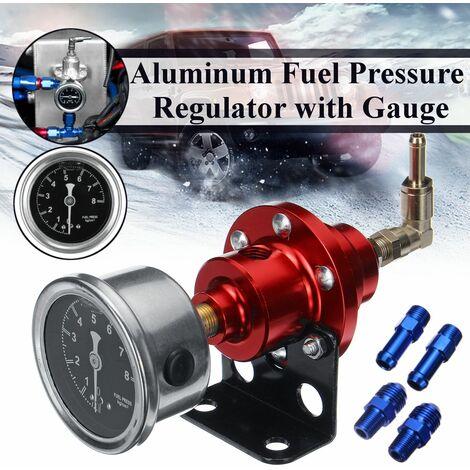 Red Universal Adjustable Aluminum Fuel Pressure Regulator with Gauge Kit (Red, Red)
