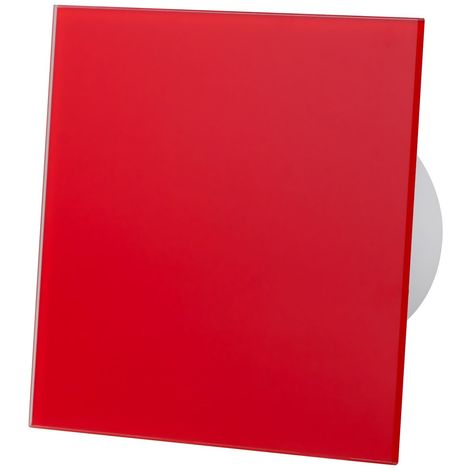 Red White Glass Front Panel 100mm Timer Extractor Fan for Wall Ceiling Ventilation