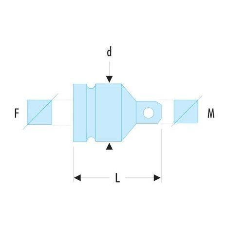 Réducteur, augmentateur impact 3/8