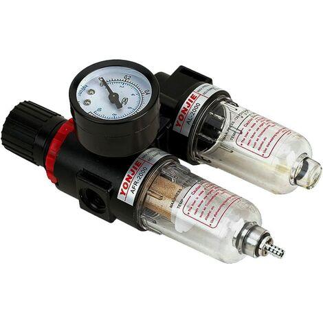 Réducteur de Pression avec manomètre Maintenance einheit1/4 Air Comprimé Séparateur d'eau régulateur de pression pour compresseur , pneumatique Filtre régulateur de gaz Processeur