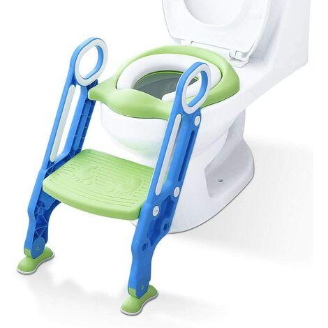 Reducteur de Toilette avec échelle Marches, Siège de Toilette Pour Bébés anti-dérapant, robuste, pliable et réglable, Réducteur de WC pour enfants 1-7 ans