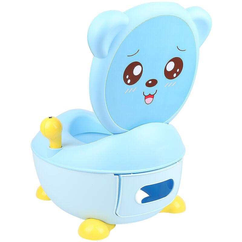 Réducteur de WC Toilette pour Enfants Siège de Toilette Entraineur de Toilette en Forme d'Ours Bleu - Bleu