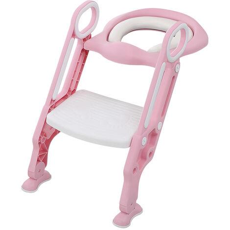 Reductor de asiento de inodoro con escalera plegable, asiento acolchado, escalones antideslizantes con asa