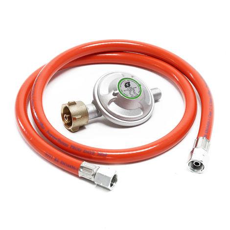 Reductor de presión de gas a 50mbar con manguera de propano 100cm, para bombonas con 21,8x1,14L
