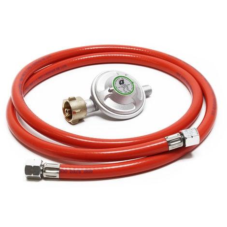 Reductor de presión de gas a 50mbar con manguera de propano 150cm, para bombonas con 21,8x1,14L