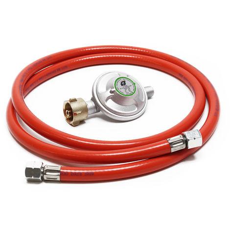 Reductor de presión de gas a 50mbar con manguera de propano 200cm, para bombonas con 21,8x1,14L