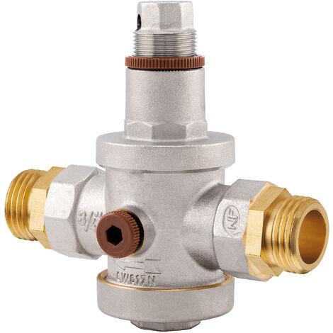 """reductor de presión NF doble macho MG3/4"""" toma manómetro"""