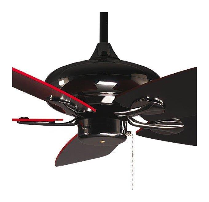 RedWin de Purline By KlassFan un ventilateur de plafond réversible nickelé noir avec pales noires et rouge ultra design.