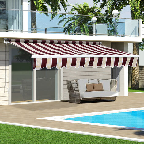 Red&Yellow Retractable DIY Manual Patio Awning Canopy Garden Shade Shelter