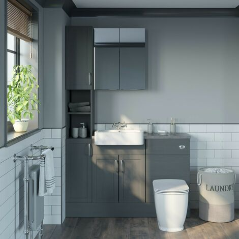 Reeves Newbury dusk grey tall fitted furniture & mirror combination with mineral grey worktop