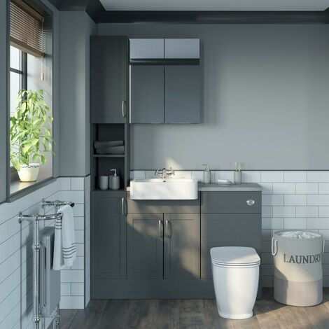 Reeves Newbury dusk grey tall fitted furniture & mirror combination with pebble grey worktop