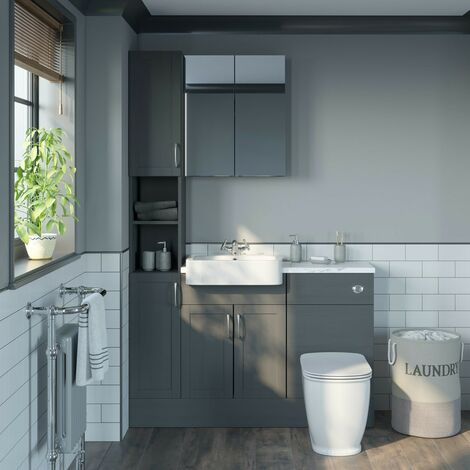 Reeves Newbury dusk grey tall fitted furniture & mirror combination with white marble worktop