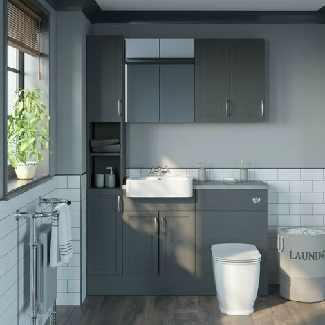 Reeves Newbury dusk grey tall fitted furniture & storage combination with pebble grey worktop