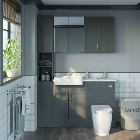 Reeves Newbury dusk grey tall fitted furniture & storage combination with white marble worktop