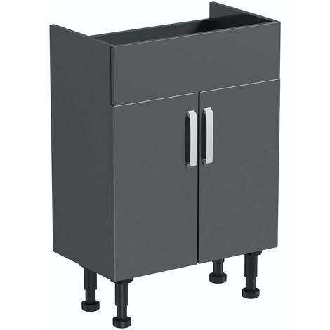 Reeves Nouvel gloss grey floorstanding vanity unit 600mm