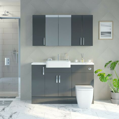 Reeves Nouvel gloss grey small fitted furniture & storage combination with white marble worktop
