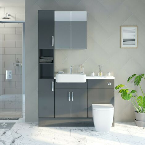 Reeves Nouvel gloss grey tall fitted furniture & mirror combination with white marble worktop