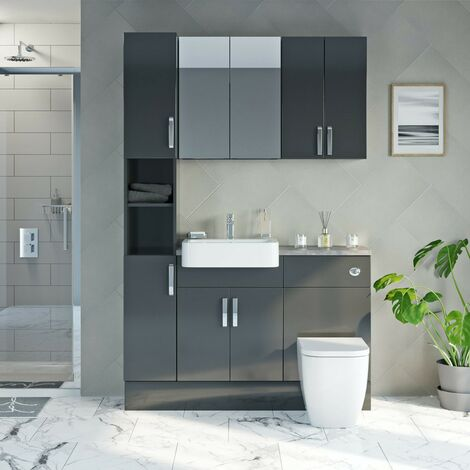Reeves Nouvel gloss grey tall fitted furniture & storage combination with mineral grey worktop