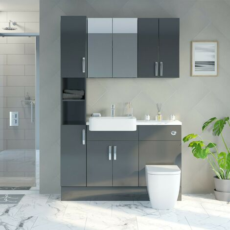 Reeves Nouvel gloss grey tall fitted furniture & storage combination with white marble worktop
